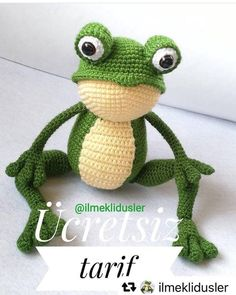 Amigurumi Crochet Frog (Kurbağa) Free Pattern - Crochet and Knitting Patterns Crochet Frog, Crochet Amigurumi Free Patterns, Cute Crochet, Crochet Dolls, Knitting Patterns, Amigurumi Tutorial, Crochet Baby, Knitting Stitches Basic, Crochet Stitches