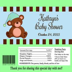 Editable Teddy Bear Baby Shower Candy Bar Wrappers INSTANT DOWNLOAD by toadallydigital on Etsy