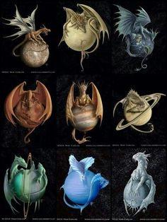 Solar system dragons fantasy art by Rob Carlos: