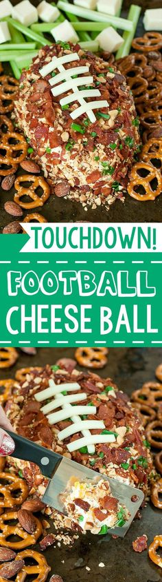 SUPER Easy Bacon Cheddar Football Cheese Ball - Sure to make a touchdown at your next game day party!