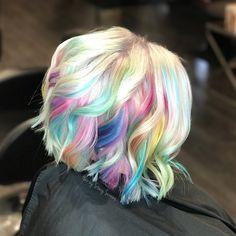 Rainbow unicorn mermaid hair by Stacy Screws Paul Mitchell POPXG vivids blue hair purple hair pink hair platinum blonde silver hair short hair