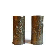 Pair of Antique Trench Art Vases