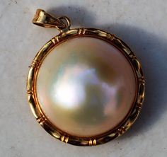 ESTATE 14K YELLOW GOLD MABE PEARL PENDANT-585-17mm-FREE USA SHIPPING  #Pendant