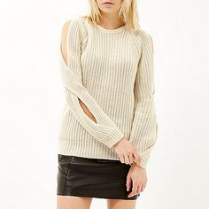 Cream Design Forum cold shoulder sweater