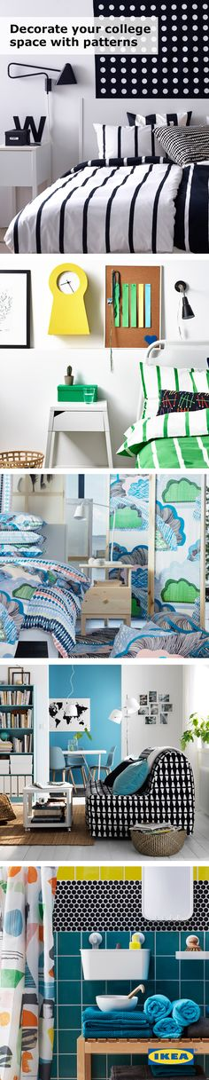 Brighten up your college space! Colorful IKEA textiles, like rugs, shower curtains, pillows, curtains and bedding, help to add a pop of color and inject your personality into the blank canvas that is your dorm room, bedroom or study space! #IKEAStudyInStyle