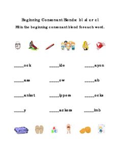 Beginning+Consonants.+Blends+Write+Fill-in+Letters+BL+SL+CR+CL.+Tools+for+Common+Core,+Emergent+Reader.+Kindergarten+Reading.+1+page.+