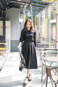 Stretch Flare Long Skirt