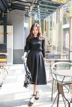 Stretch Flare Long Skirt