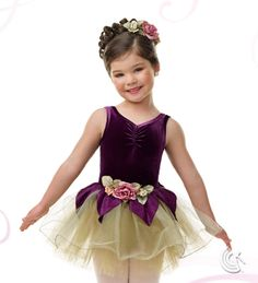Curtain Call Costumes® - Fairytale Princess Eggplant stretch velvet and nylon/spandex leotard with attached glitter tulle and tulle tutu with glitter poly/spandex petal skirt and flower trim. INCLUDES: flower barrette. Troupe price: $65 AUD - $70 AUD