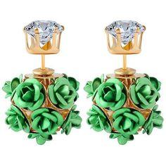 Pair of Rose Shape Rhinestone Earrings