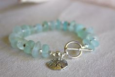Bracelet made of pale blue sea glass