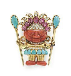 A Multi-Gem and Diamond Brooch designed by Donald Claflin for Tiffany & Co. Diamond Brooch, Art Deco Diamond, Garnet Jewelry, Fall Jewelry, Unique Jewelry, Art Deco Period, Pink Tourmaline, Diamond Cuts, Jewelery