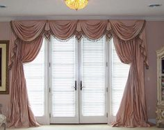 Elegant swagged cornices conceal swing top treatments for French doors (Rose Swags, full view)