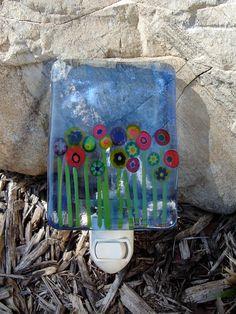 Wild Flowers Fused Glass Nightlight
