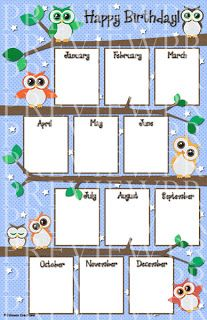 Johnson Creations: Owl Birthday Chart
