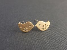 Tiny Little Bird Gold Earring-SILVER POST-cute,lovely gift idea. $17.00, via Etsy.