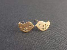 Tiny Little Bird Gold EarringSILVER by siemprejewelry on Etsy. $17.00, via Etsy.