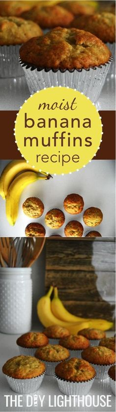 The best moist banana muffins! Recipe with ingredients list and directions for how to make these delicious banana muffins. The best part? It's super easy, quick, and cheap. If you've got bananas then (Healthy Ingredients List) Banana Muffin Recipe Easy, Moist Banana Muffins, Simple Muffin Recipe, Banana Recipes, Moist Banana Cake Recipe, Köstliche Desserts, Delicious Desserts, Dessert Recipes, Desserts With Bananas