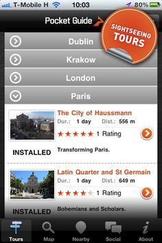 Pocket Guide travel apps for self-guided tours around Barcelona, Amsterdam, Prague, Vienna, etc. Very useful for traveling solo or in small groups...