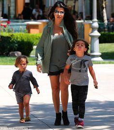 'Anxious': Kourtney Kardashian stayed behind with her children in Calabasas, California on...