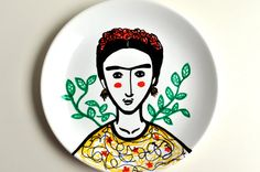 Hey, I found this really awesome Etsy listing at https://www.etsy.com/listing/198702998/hand-painted-plate-frida-kahlo