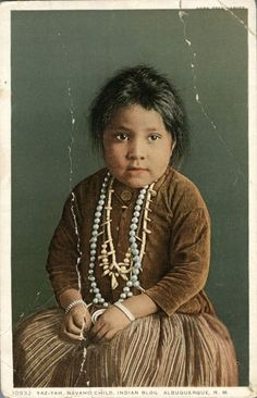 Yaz-nah Navajo child Albuquerque New Mexico Fred Harvey postcard