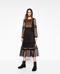 PLUMETIS EMBROIDERED DRESS-DRESSES-WOMAN | ZARA United States