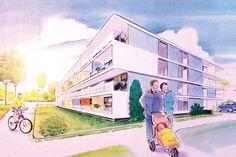 Visuals. Verkoopbrochure De Woningbouw/Ymere uit Weesp, verzorgd door Reclamebureau Holland. Reclamebureaus en ontwerpbureaus