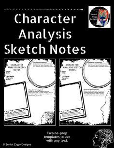 Character Analysis Sketch Notes, Character Analysis, English Language Arts Activities