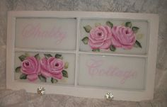 Shabby Cottage ,hand painted roses vintage window.