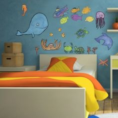 under the sea, is where you'll be (or so it will seem!) with our fun sea creature fabric wall decal set. Follow a school of fish wherever they may go on your little one's wall, because this kids wall decor is repositionable and super durable! Removable and repositionable fabric based wall stickers? Brilliant, you say? We agree! Give your child the creative freedom to make their room their own without the commitment or mess that comes from making changes later on.