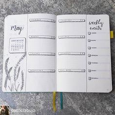 journal ideas layout weekly easy May bullet journal spread. Simple and easy but very effective. An inspiration fo. May bullet journal spread. Simple and easy but very effective. An inspiration for bullet journal layouts for May. Bullet Journal Title Page, How To Bullet Journal, Bullet Journal Inspo, Bullet Journal Spread, Bullet Journal Ideas Pages, Bujo, Organization Bullet Journal, Bullet Journel, Journal Inspiration