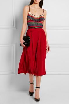 Gucci | Ruffled metallic knitted camisole | NET-A-PORTER.COM
