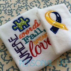 Subway Art Words Embroidery Design Applique Autism Downs Syndrome Awareness Ribbon Puzzle INSTANT DOWNLOAD digital files Pattern