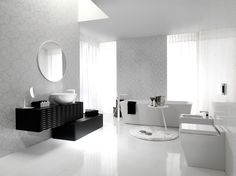 Wall: Deco Nacare, Floor: Crystal White, Vanity: Lounge Black, Sink: Lounge, Faucet: Lounge, Bathtub: SP Concept