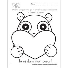 Fichier PDF téléchargeable En noir et blanc seulement 1 page Valentine Activities, Valentine Crafts, Valentines Day, Message St Valentin, Teaching French Immersion, Diy And Crafts, Arts And Crafts, Saint Valentine, Scp