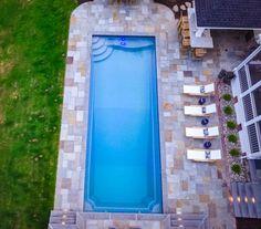 How Deep Are Fiberglass Pools? Pool Sizes Inground, Inground Pool Designs, Swimming Pool Designs, Fiberglass Swimming Pools, Swimming Pools Backyard, Pool Spa, Pool Shapes, Rectangular Pool, Concrete Pool