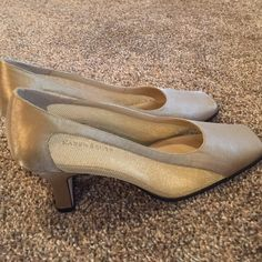 "Karen Scott ""Athena"" heels Like new heels. Maybe never even worn. Leather sole. Beautiful shoes. Metallic gold with gold mesh material on sides. Clean!! 2 3/4 inch lift. Karen Scott Shoes Heels"