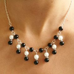 black and white bead necklace - Google претрага