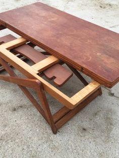 Superbe table vintage modulable multifonctions, pliable des années 60.