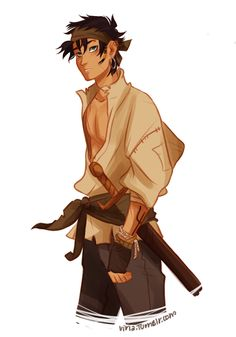 Don't you think Viria's pirate Percy Jackson could be Prince Po from Graceling? I mean, aside from the eyes. The dark hair, the gold hoops, the open shirt, the complexion…<<<<HOLY SHIT YOU'RE RIGHT Percy Jackson Fandom, Percy Jackson Characters, Percy Jackson Fan Art, Percy Jackson Books, Percy Jackson Drawings, Leo Valdez, Viria, Jason Grace, Percy Jackson Personajes