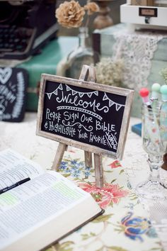 Wedding guestbook idea -- have your guests sign their name in a Bible and highlight their favorite verse! Photo by Jenna Joseph Photography