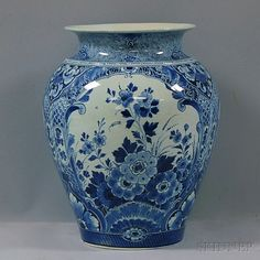 Large Blue and White Floral-decorated Delft Ceramic Vase | Sale Number 2660M, Lot Number 1120 | Skinner Auctioneers