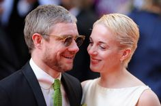 Martin Freeman and Amanda Abbington on the red carpet at the BAFTAs.  Am I the only one wondering if Amanda's hair is blonde because they're filming S4?!?!