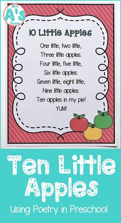 Poetry is a fantastic learning tool in preschool and kindergarten! Come learn how to use it in your classroom with this adorable counting poem that will fit right into your apple theme! - Kids education and learning acts Preschool Apple Theme, Preschool Music, Fall Preschool, Preschool Curriculum, Preschool Lessons, Preschool Learning, Preschool Activities, Preschool Kindergarten, September Preschool Themes