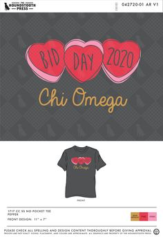 Look no further than Houndstooth Press for all of your sorority, fraternity, non-profit and organizational custom shirt design needs. Sorority Bid Day, Sorority Outfits, Chi Omega, Greek Life, Front Design, Custom Clothes, Houndstooth, Custom Design, Abs