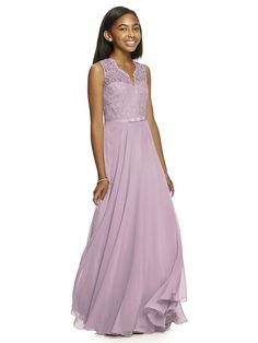 The Dessy Collection JR532 is a sleeveless junior bridesmaid dress in lux chiffon, detailed with a lace bodice, modified V-neckline and 1Ó grosgrain bow belt. Dainty scallops trim the neckline and the V-back, complementing the sheer lace yoke. Available in any two-color combination, this A-line dress finishes with a full-length skirt. Sizes available in 6JB to 14JB and 6JB to 14JB extra length.