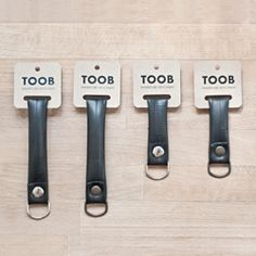 TOOB is a keychain made of recycled bicycle innertubes collected from Tel Aviv's local bicycle workshops.