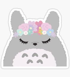 Totoro Cutie Eyelashes Pastel Flowers Sticker