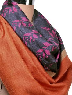 Floral Organic Silk Stole #available Online at Jaypore.com #floral #silk #colors #organic #silkstole #blockprinted #handmade #organicclothing